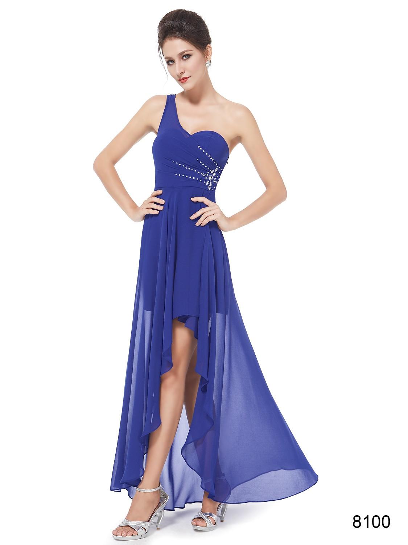 One Shoulder Rhinestones Royal Blue Chiffon Hi-low Bridesmaid Dress