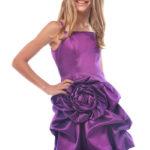 Purple bridesmaid dresses with flower