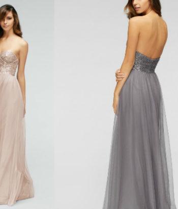 Rocio Sequin Tulle Sweetheart Beige Bridesmaid Dresses