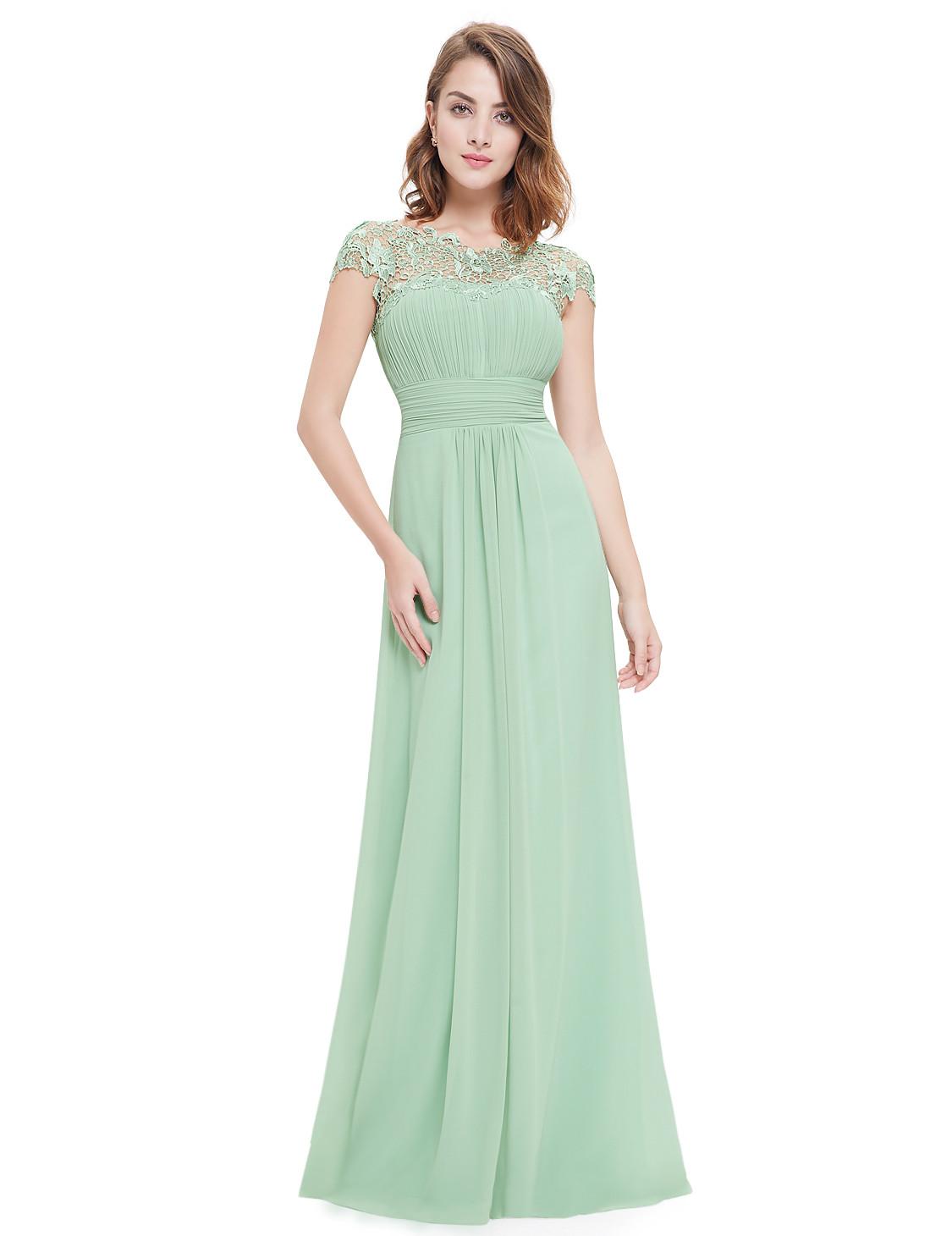 Sage Green Lacey Neckline Bridesmaid Dress