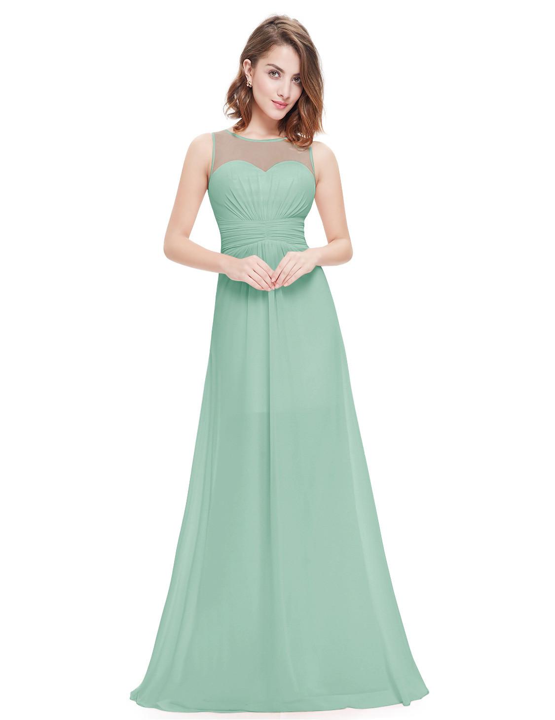 Sage Green Sweetheart Sheer Lace Bridesmaid Dress Long