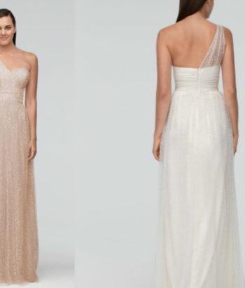 Sequin Tulle Long Beige Bridesmaid Dress