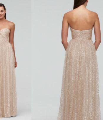 Sequin Tulle Sweetheart beige Bridesmaid Dress