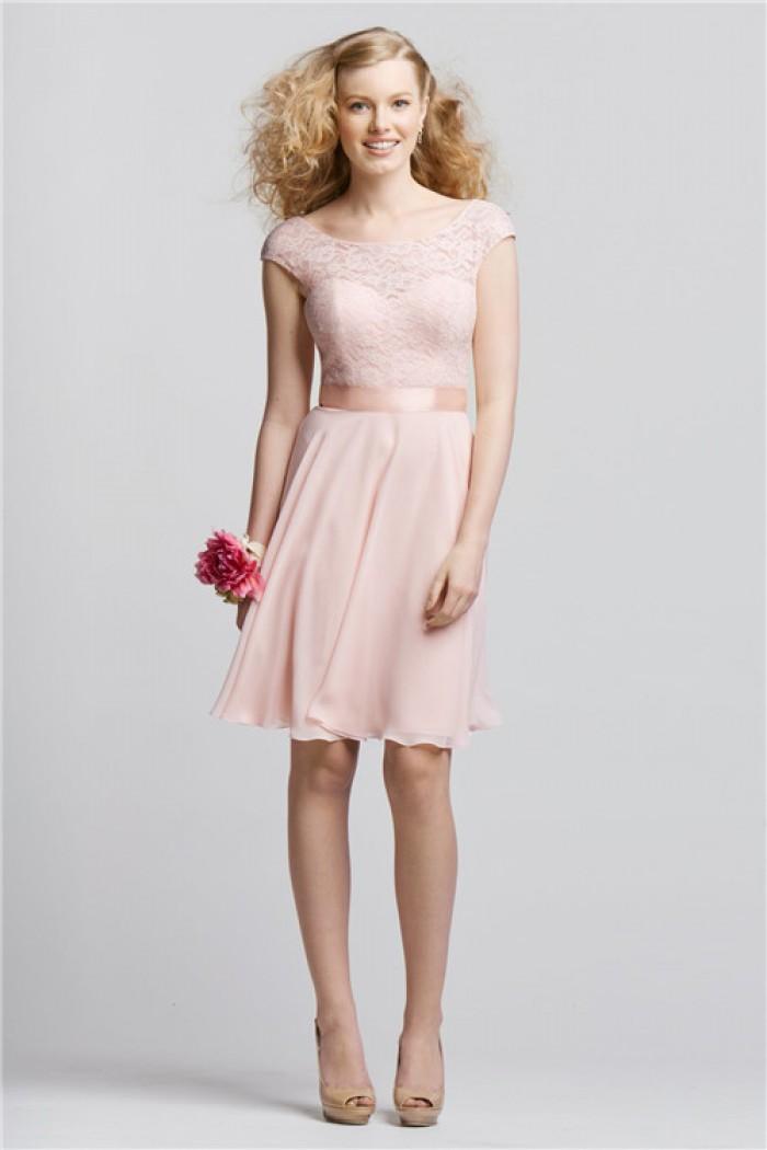 Short Sleeve Blush Pink Bridsmaid Dress