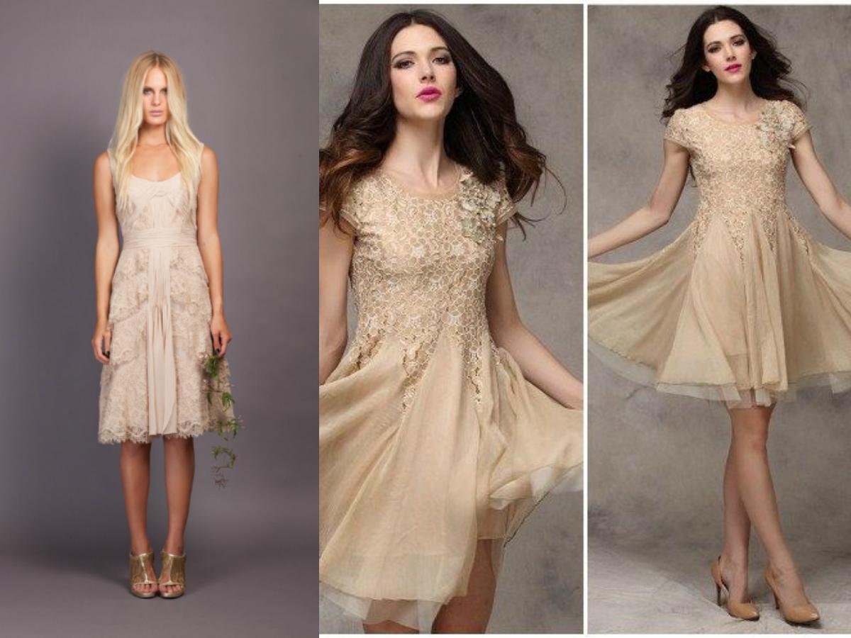 Short beige lace bridesmaid dresses