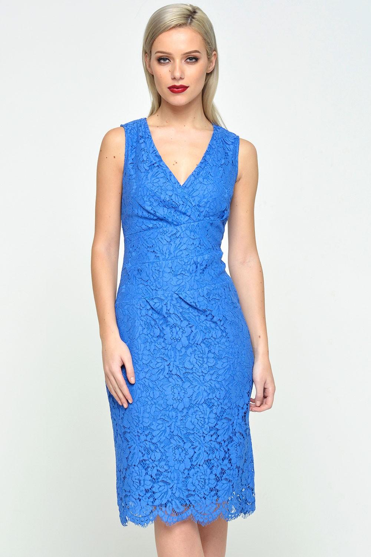 Short lace cornflower blue bridesmaid dresses