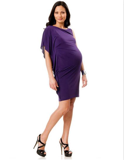 Short purple maternity bridesmaid dress