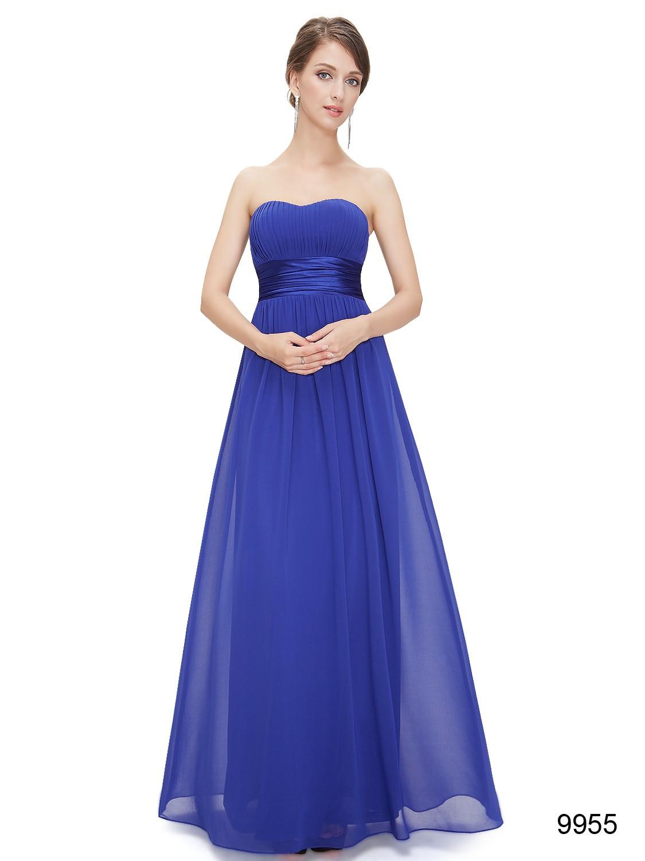 Strapless Blue Sweetheart Chiffon Bridesmaid Dress