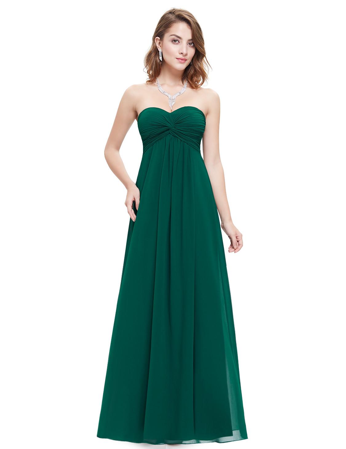 Strapless Elegant Green Bridesmaids Dress