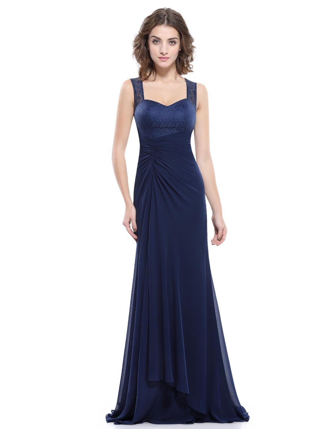 Stunning Navy Lace Back bridesmaid dress