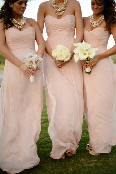 blush pale pink bridesmaid dresses