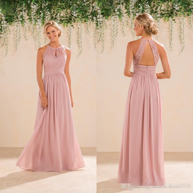 Blush Pink Bridesmaid Dresses Full Length Budget