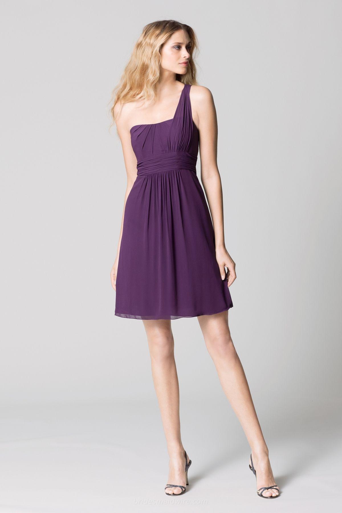 Chiffon Dark Purple Bridesmaid Dresses Knee Length