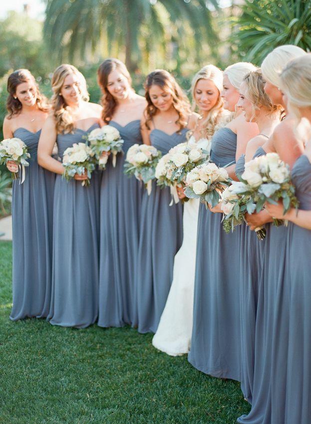 dark dusty blue bridesmaid dresses