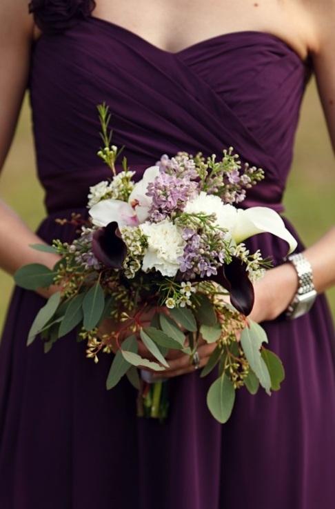 dark purple bridesmaid dresses with white flowers