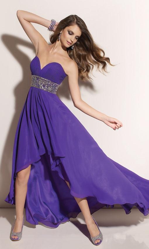 deep purple asymmetrical bridesmaid dresses