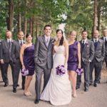 deep purple bridesmaid dresses with dk gray tuxedos
