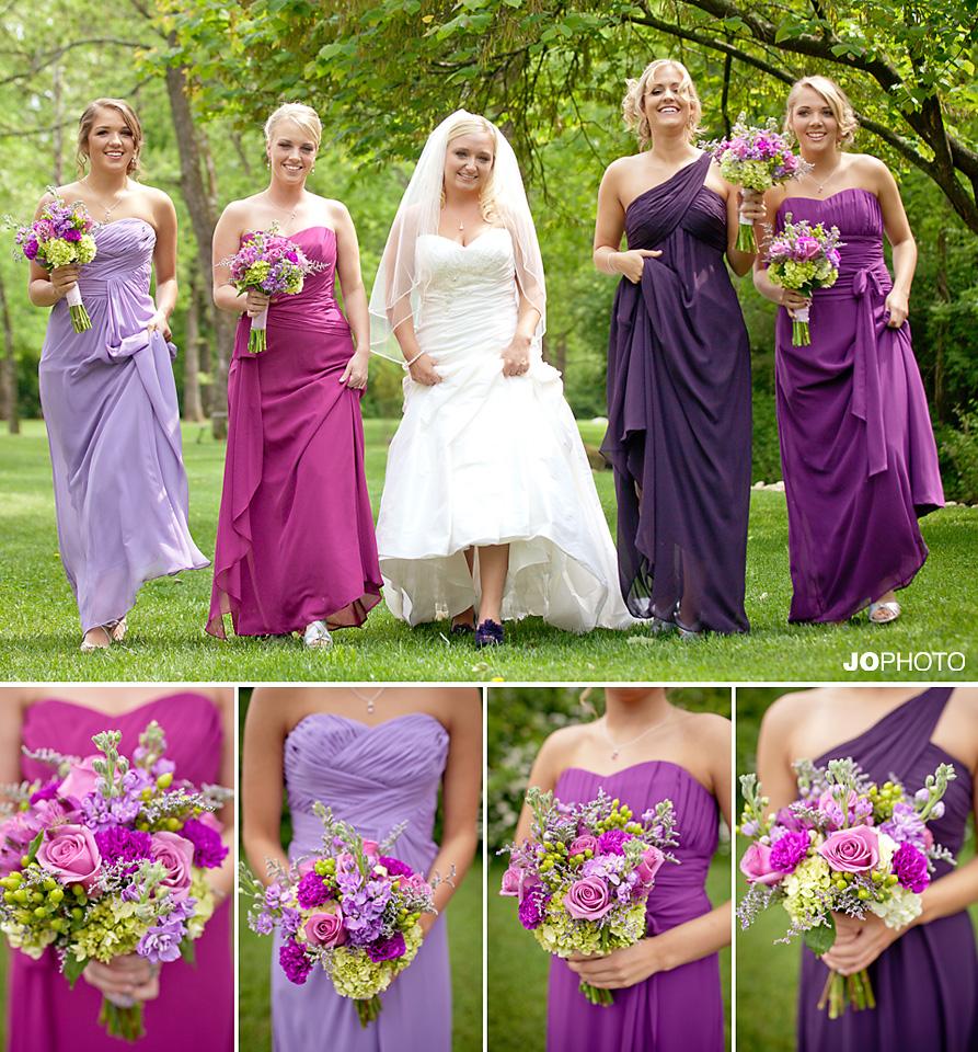 different shades of purple bridesmaid dresses