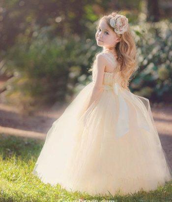 flower girl tulle dresses floor length blush dress