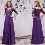half sleeve purple bridesmaid dresses