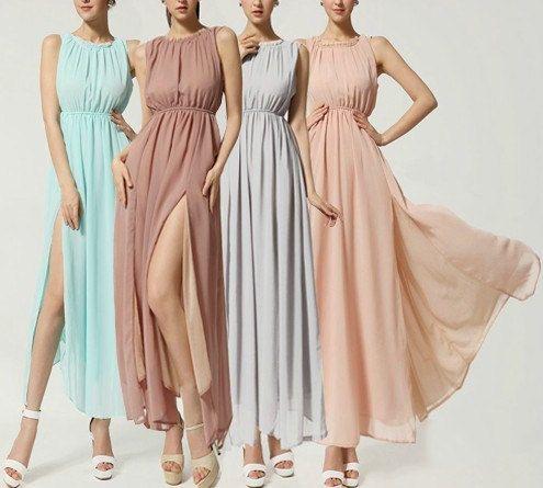 loose fitting beige bridesmaid dresses