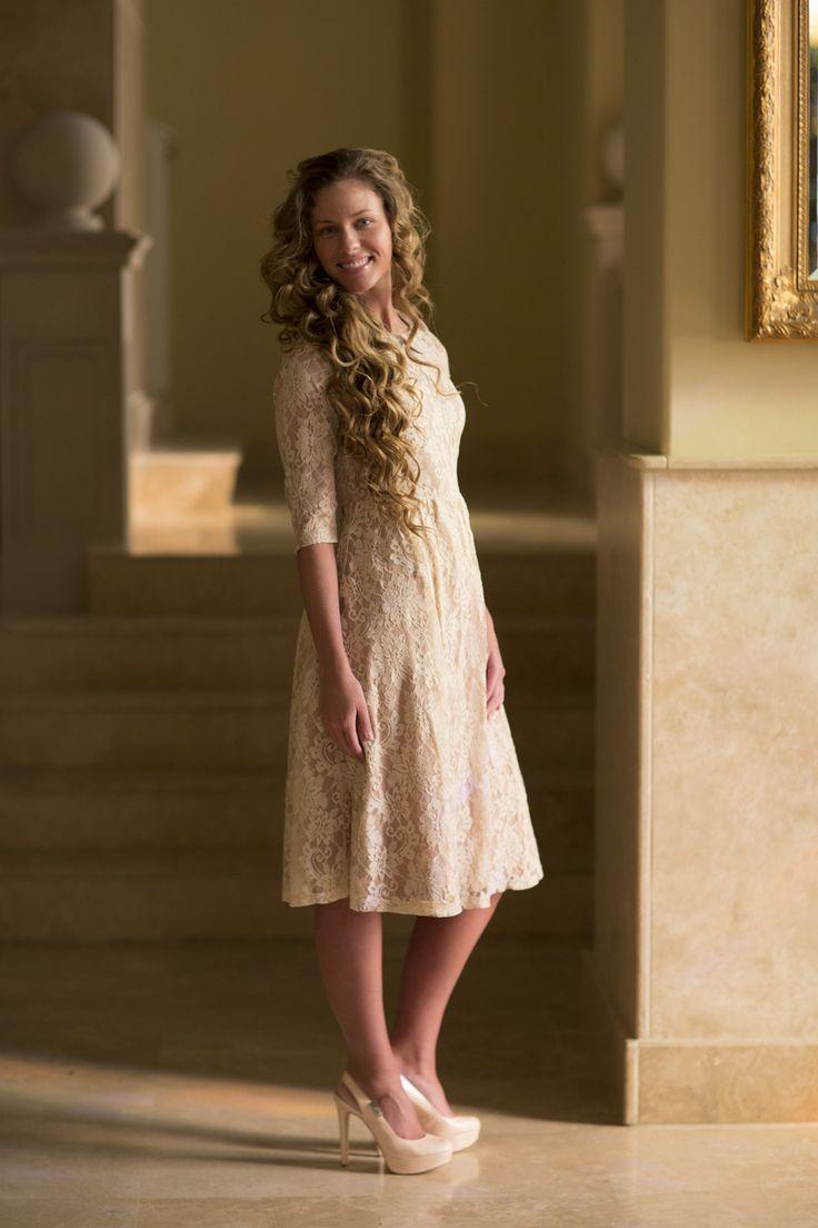 modest beige bridesmaid dresses