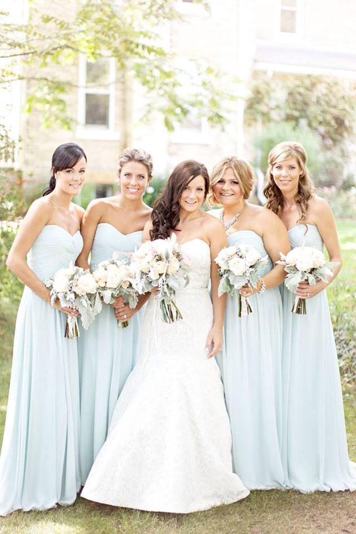pale blue bridesmaid dresses bright flowers