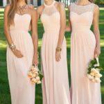 pink bridesmaid dresses long uk