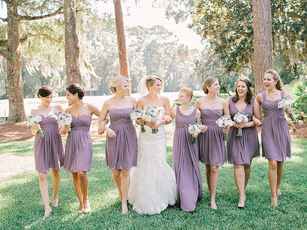 rustic light purple bridesmaid dresses