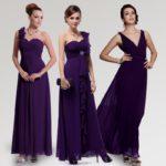 shiny royal purple bridesmaid dresses