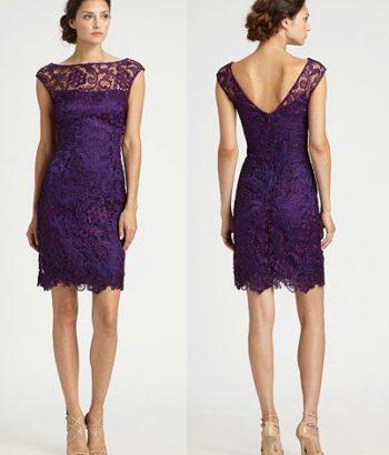 short bridesmaid dresses purple lace v neck