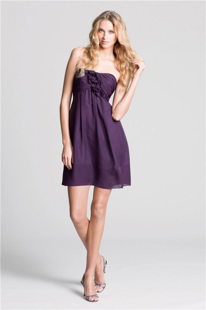 short dark purple bridesmaid dresses