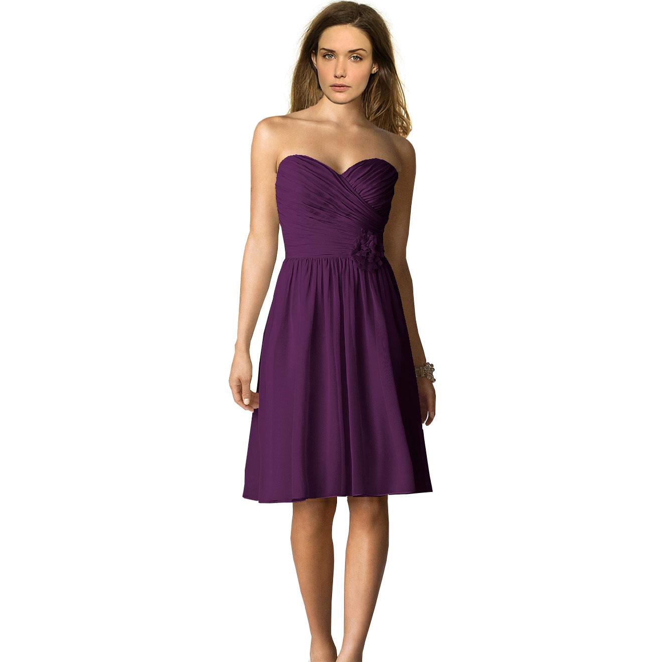 short deep purple bridesmaid dresses