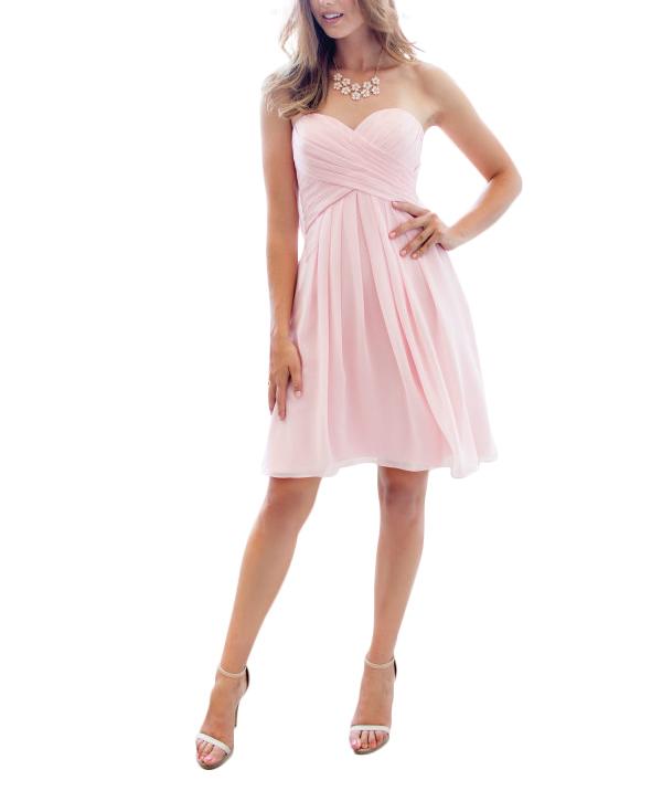 short pale pink bridesmaid dresses