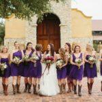 short purple bridesmaid dresses with cowboy boots