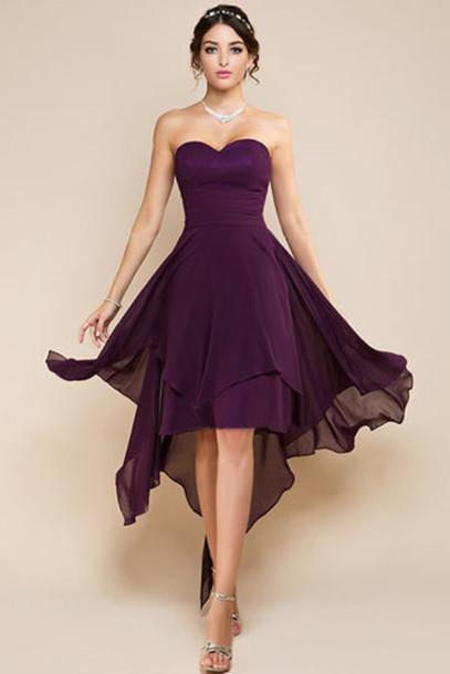 short purple bridesmaid dresses