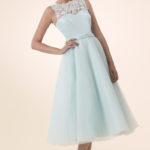 tea length pale blue bridesmaid dresses