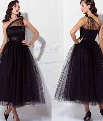 1950S Celebrity Tea Length Black Prom Dresses