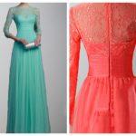 3-4 sleeves Lace Applique 2017 Long Bridesmaid Dresses