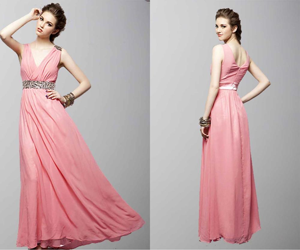 A Deep V-Neck Free Style Long Prom Dresses