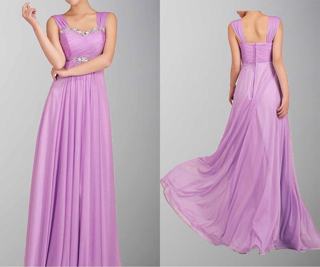 A-line Beaded Empire Waist Shoulder-straps Long Prom Dress