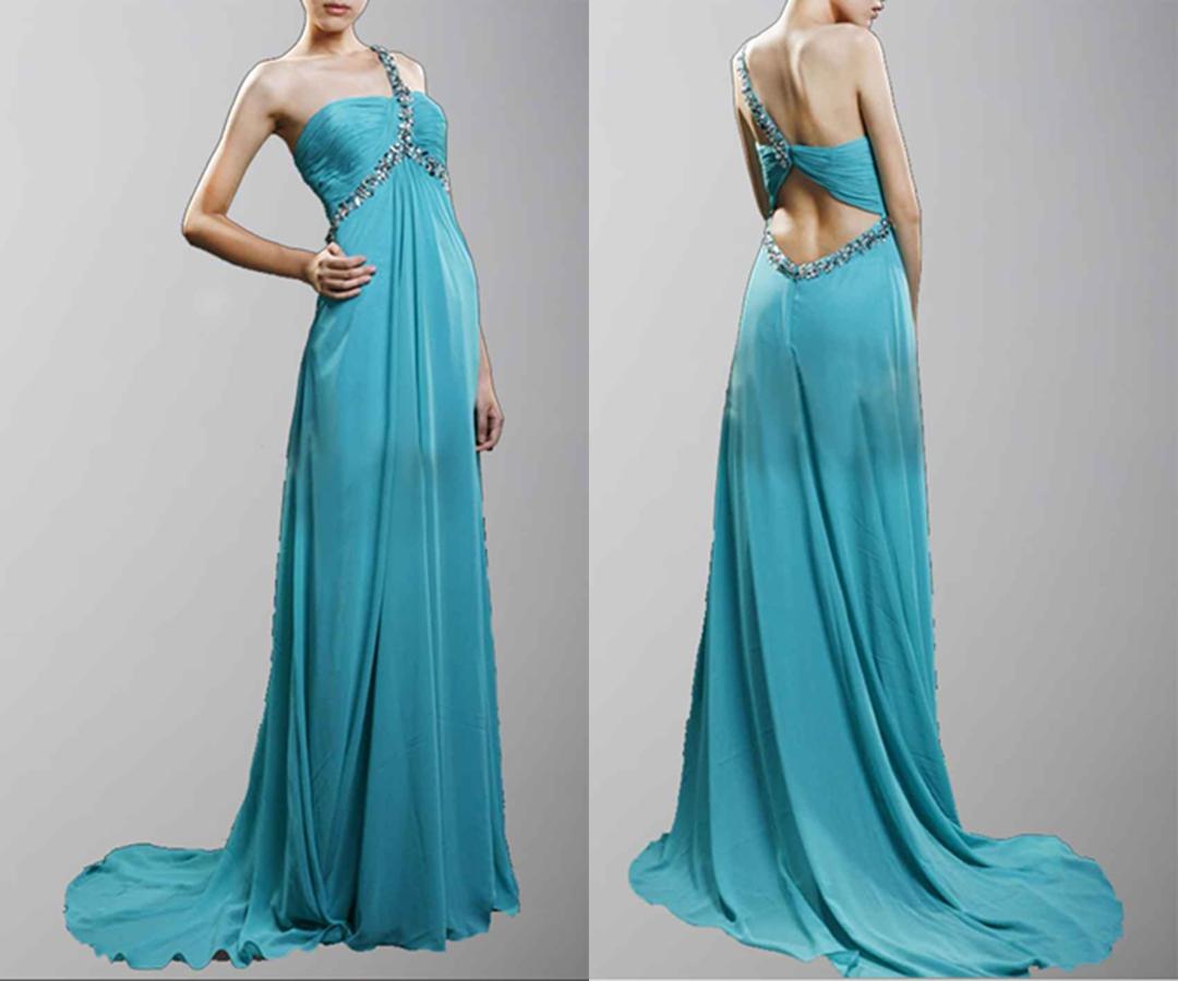 Amazing Blue Beaded One Shoulder Prom Dress