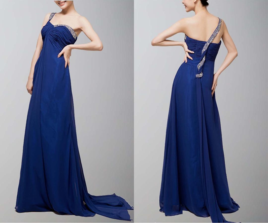 Beaded One-Shoulder Blue Long Chiffon Evening Dress