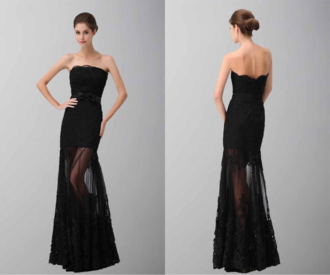 Black Elegance Strapless Lace Formal Dresses