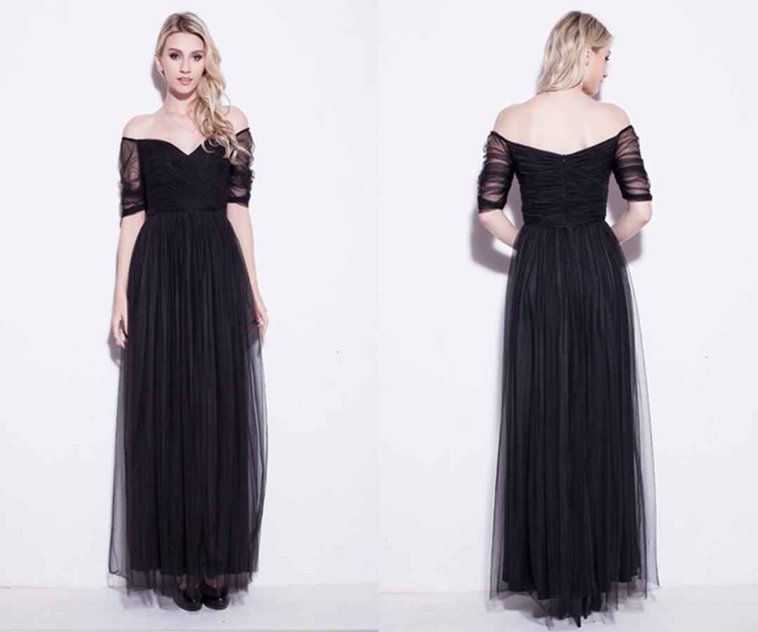 Black Net Off Shoulder Long Prom Dresses