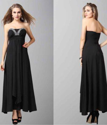 Black Sexy Dimensional Level Folds Evening Dress