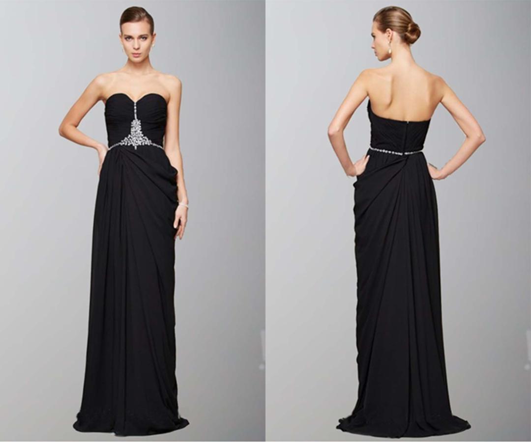 Black Sweetheart Side Ruffles Long Formal Dresses