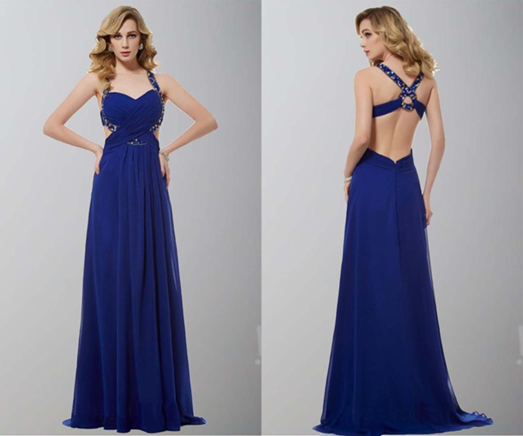 Blue Backless Cross Strap Long Prom Dresses