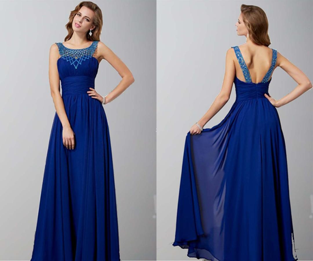 Blue Beading Round Neck Tunic Prom Dresses