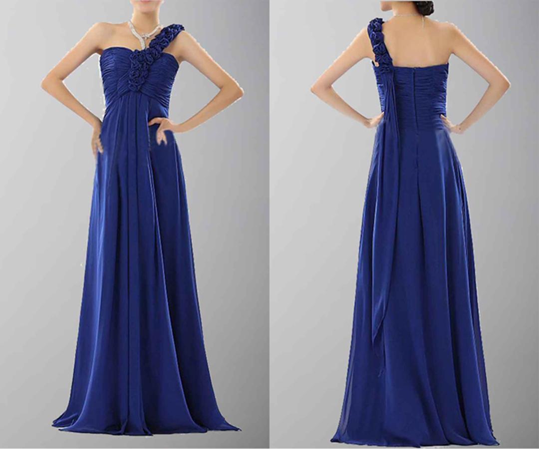 Blue One Shoulder Long Bridesmaid Dress